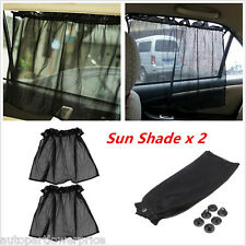 2pcs Car Sun Shade Mesh Side Window Curtain Sunshade Visor Anti-UV With Sucker