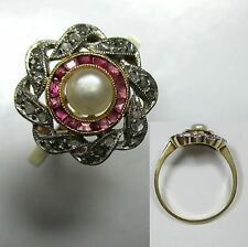 655 - Art Deco Ring - Gold 750 - Perle Rubine Diamantrosen  -909-