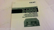 Teac Z-6000 Cassette Deck Manual in 5 Language Français Espanol Allemand Italien