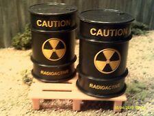 1:24 Scale / G scale 3 piece set = 2 Black plastic Waste Drums w/ plasic pallet