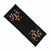 New Primitive Christmas Black APPLIQUE CANDY CANE STAR STITCHED TABLE RUNNER Mat