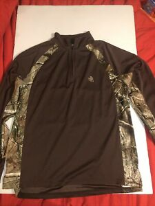 Legendary Pullover Men's Large Hunting Long Sleeve Zip Shirt Brown Camouflage