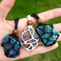 Exclude Stone- 5CM Tribal Interchangeable Macrame Pouch Stone Bag Necklace Rope