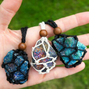 Handmade Interchangeable Macrame Pouch Necklace for crystals/tumbled stones
