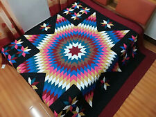 King Size Machine Pieced quilted Star patchwork quilt #J-95