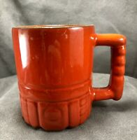 "Vintage Frankoma Pottery Mug Cup C4 Mayan Aztec 4"" Lazy Bones Flame Red Orange"