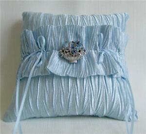 Light Blue Ruffled Satin Wedding Ring Bearer Pillow, Flower Brooch, Handmade