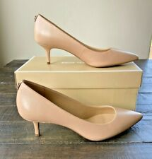 NIB MICHAEL KORS MK FLEX KITTEN PUMP NUDE LEATHER HEELS SHOES MULT SZ
