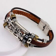 Leather Men Accessoires Tibetan Silver Bracelet Parataxis Dragon Multilayer pb