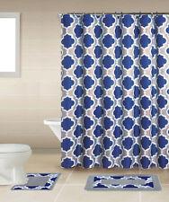 Geometric Lattice Blue Multi 15 Pcs Shower Curtain with Hooks Bathroom Rug Set