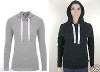 Ladies Womens Hoodie Black Sweatshirt Cotton Hooded Top Gym Yoga Size 12 16