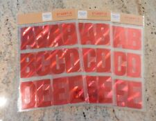 "Lot of 3 New 49 Count Red Foil Adhesive Letters Approx 3"" 147 Total ~SHIPS FREE"