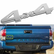 Chrome Stick On Silver 4x4 Emblem Trunk Badge Sticker for Toyota Tundra Tacoma