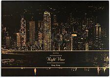 """Lago Scratch Paper Night View Map 16"""" x 11"""" w/ Wood Pen - Hong Kong"""