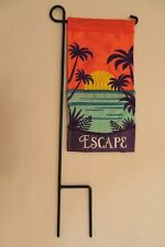 "Mini 4""x8.5"" ""Escape"" Summer Paradise applique Mini Flag w/ mini stake 2-sided"