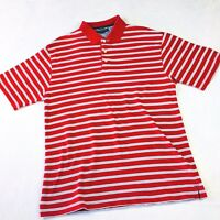 Tommy Hilfiger Mens Golf Polo Shirt Size XL Red White Blue Stripe Short Sleeve