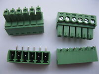 12 pcs Screw Terminal Block Connector 3.5mm Angle 6 pin/way Green Pluggable Type
