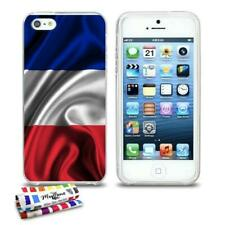 COQUE iPHONE 5 5S SE DRAPEAU FRANCE SILICONE TRANSPARENT SOUPLE (TPU)