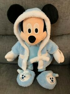 "Disney Mickey Mouse In Dressing Gown & Slippers 15"" Soft Toy Blue & White"