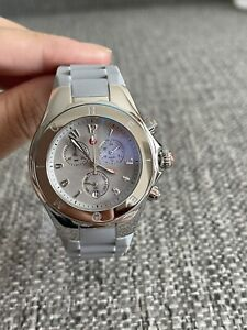 Brand New Michele Jelly Bean Chronograph Silicone Watch MWW12F000092 MSRP $445