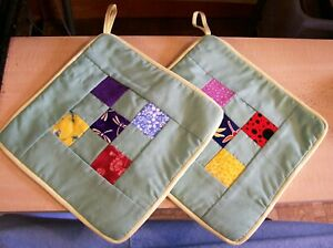 AF0095 2 Handmade Patchwork Pot Holders Dragonfly 9 Patch green yellow