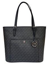 Michael Kors Jet Set Large Top Zip Snap Pocket Tote Handbag Black MK Signature