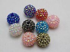 20 Mixed Colour Acrylic Rhinestone Pave DISCO Ball Beads 18mm Shamballa Bracelet