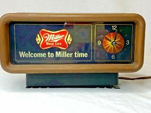 Vintage 1984 Miller High Life Clock - Tested Works and Lights Up