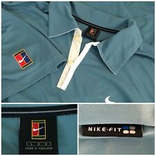 Vtg NikeMens Large Teal Agassi Challenge Court Tennis Athletic Polo Shirt 90's