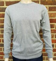 Men`s Jumper Crew Neck Cotton Blend Size Large Grey Ex-M&S Pullover
