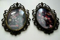 Ornate Wall Art Flower Bouquet Italy Hanging Metal Frame Oval Glass Pair