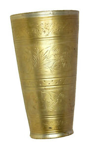 Floral Design Old Brass Handcrafted Lassi Glass Tumbler Mug Milk Cup Water Glass