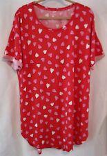 Victoria Secret Red Night Gown Sleep Shirt Top w/Hearts Size XL