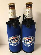 Miller Lite Racing Bottle Bag Cooler Koozie w/ Clip & Loop  Set of (2) NEW & F/S