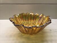 Indiana Carnival Glass Bowl Lily Pons Sunflower Marigold Amber Vintage