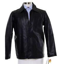 Perry Ellis Black Genuine Lambskin Leather Winter Jacket Size Small