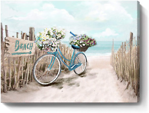 Beach Canvas Wall Art for Bathroom Ocean Pictures Seaside Bicycle Canvas Print