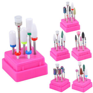 7pcs Pedicure Nail Art Tools Ceramic Manicure Drill Bits Set Electric File Bit