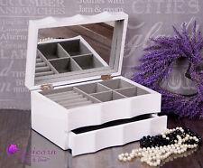 White Wooden Jewellery Gloss Box Drawer Mirror Vintage Jewelery #1 Gift Present