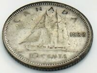1938 Canada 10 Ten Cent Silver Dime Canadian Circulated George VI Coin J383