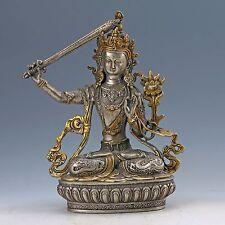 Old Silver Bronze Gilt Handcrafted Tibetan Buddhism Manjushri Buddha Statue z38