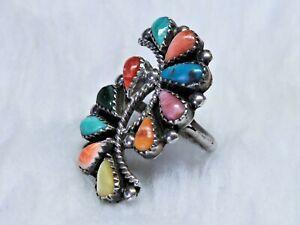 Navajo or Zuni Ring 10 tear drop shape Color gems
