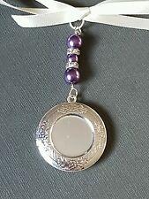 Wedding Bouquet Charm Photo Frame Round Silver Bouquet Locket with purple pearls