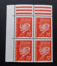 France-1941-Block of 4-Philippe Petain 70c issues-MNH
