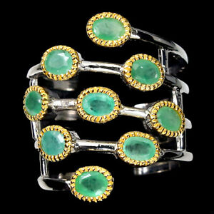 Unheated Oval Green Emerald 4x3mm 925 Sterling Silver Ring Size 8