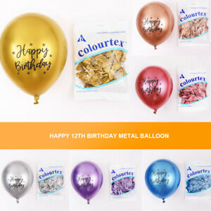 "12 ""2.8g chro me latex balloon printing HappyBirthday metal balloon decoration"