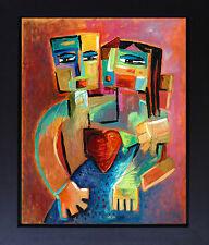Couple Lovers Love Cubist Vivid Colors Modern Print Canvas Art SFASTUDIO