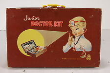 Vintage Junior Doctor Kit In Case Early Child's Toy W Candies, Stethoscope, More