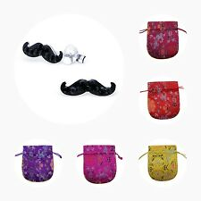 Childrens Girls 925 Sterling Silver Mustache Crystal Stud Earrings - Pouch