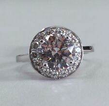 14K White Gold Halo Fancy Design Cubic Zirconia Engagement Ring, CZ 2ct / 8mm